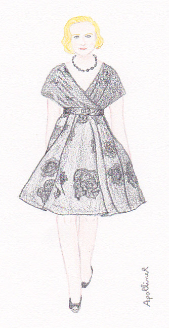 drawing of a Dior fifties style dress