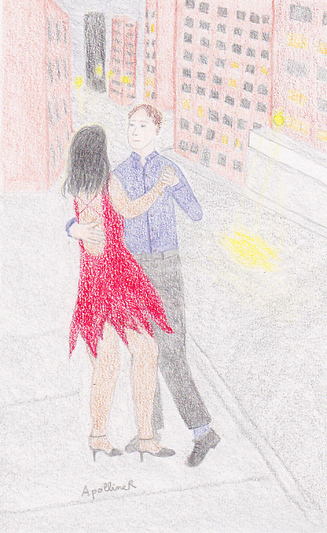 drawing of a couple dancing salsa in New York