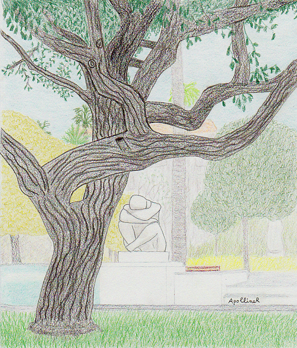 drawing of a melancholic public garden in Nice
