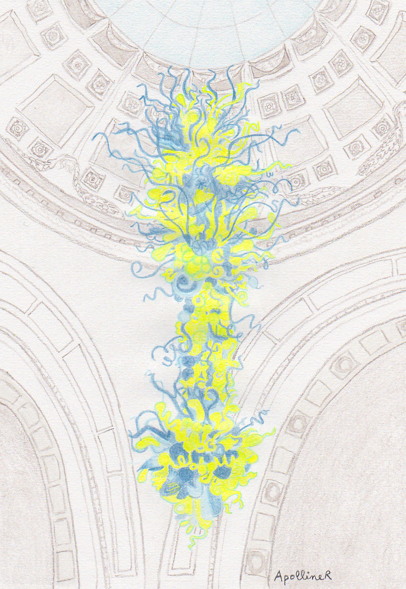 Victoria and albert museums colorful glass chandelier drawing of victoria and albert museums yellow and blue glass chandelier by dale chihuly arubaitofo Choice Image