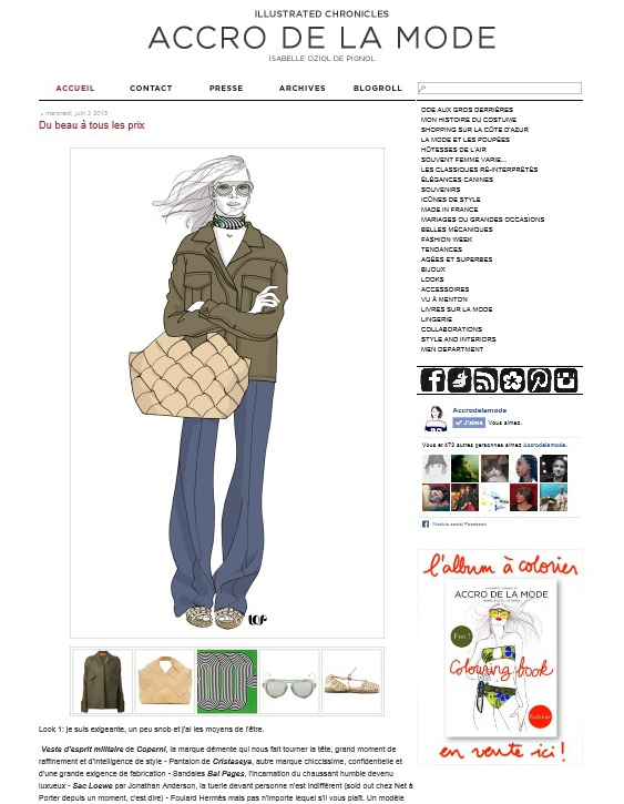 screenshot of Accro de la mode blog