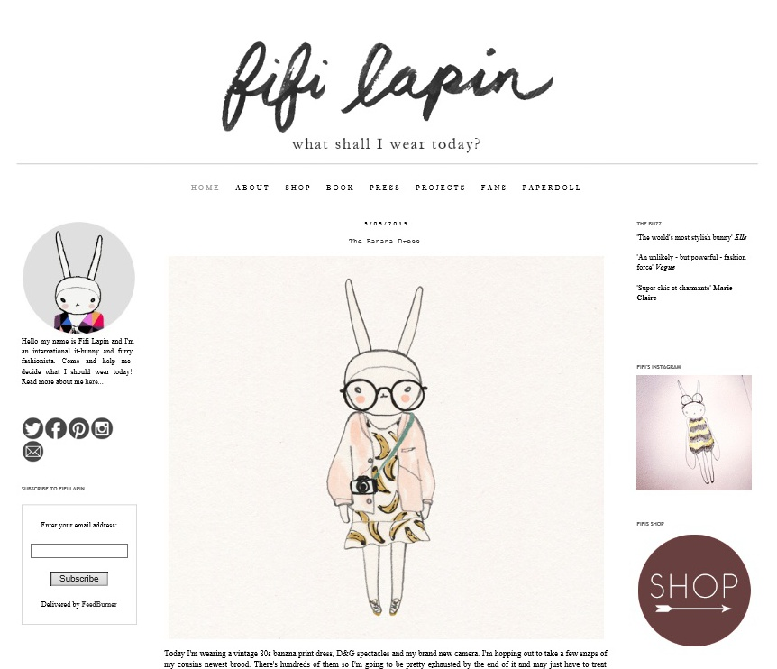 Screenshot of Fifi lapin blog