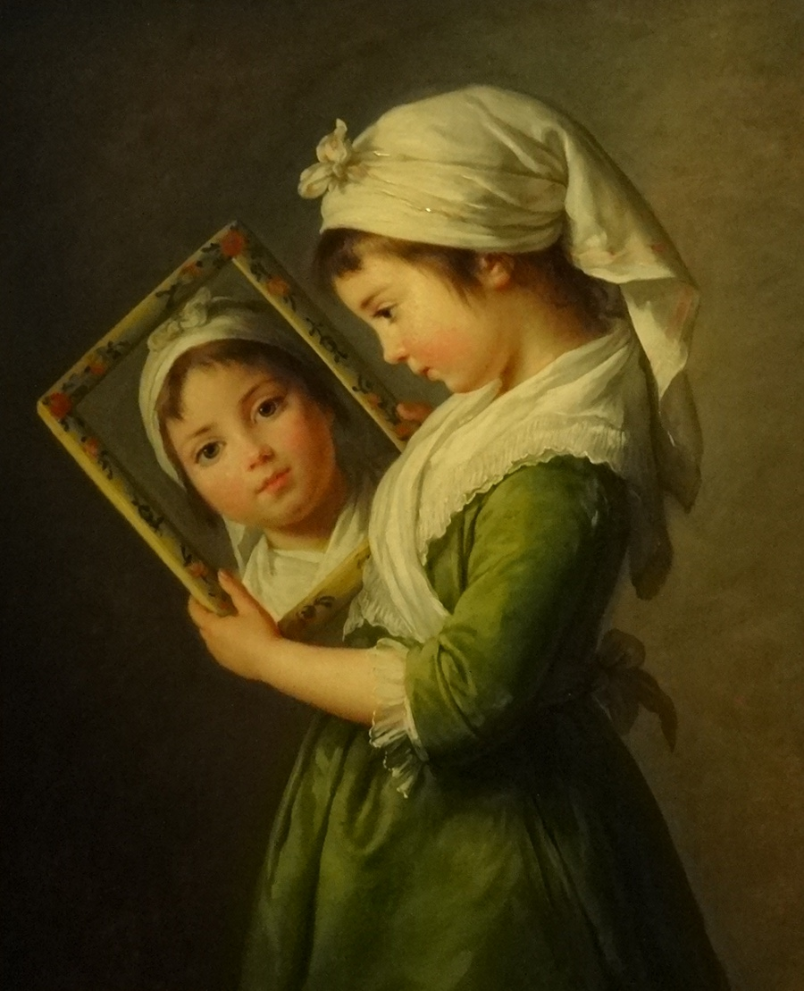 Jeanne Julie Louise Le Brun looking at herself in a mirror in 1787 by Elisabeth Vigée Le Brun