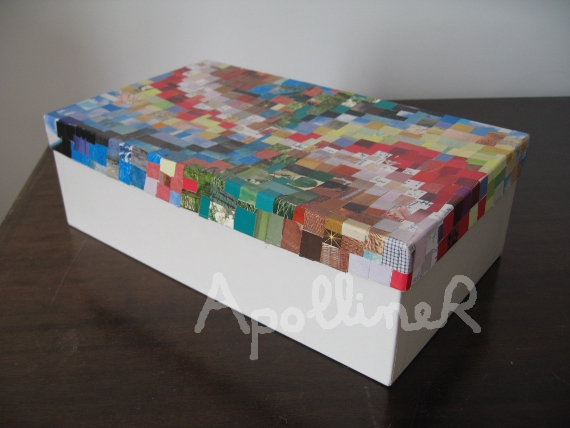 box covered with paper mosaic collage