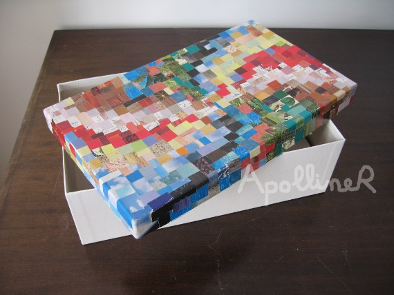 box covered with paper mosaic