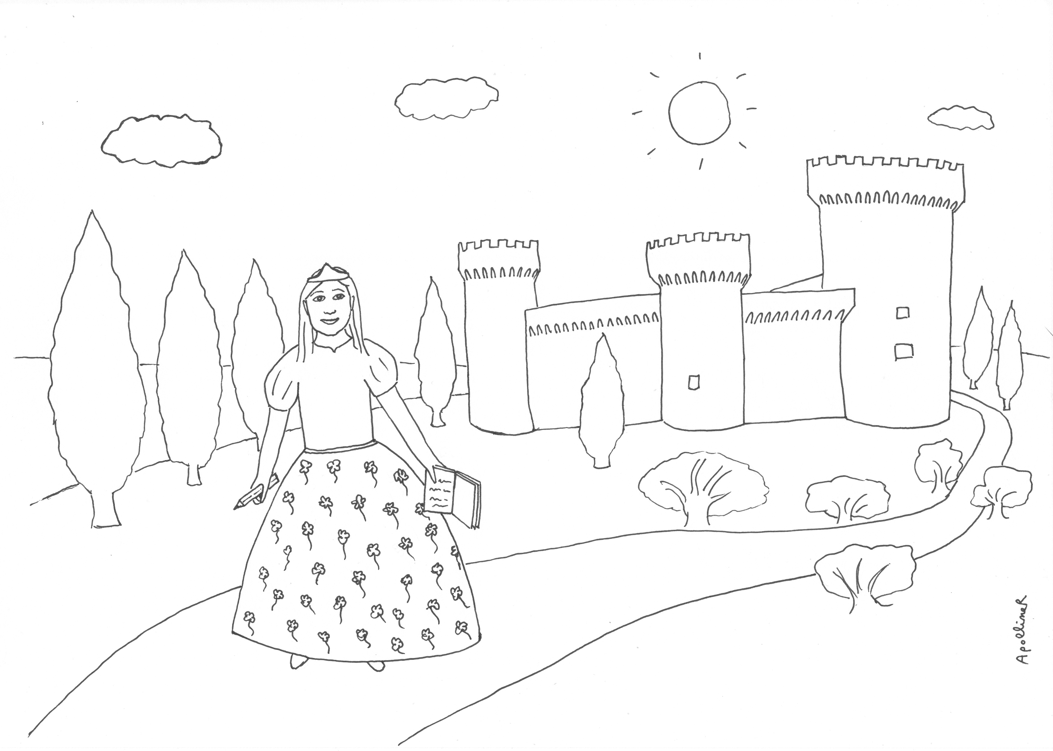 coloring picture of a little princess with a notebook and a pencil in front of her castle