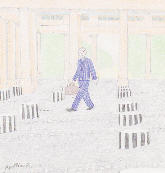drawing of the Colonnes de Buren in Paris