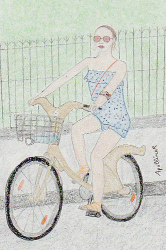 drawing of Jessica Alba on a Velib in Paris in summer