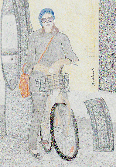 drawing of Jessica Alba on a Velib in Paris in winter
