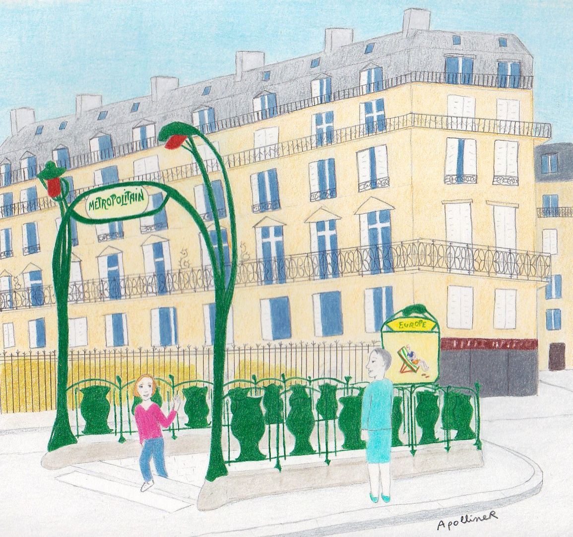 drawing of a guimard Metro entrance in Paris
