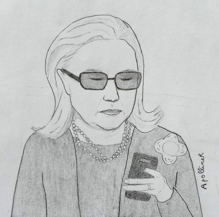 illustration inspired by a picture of Hillary Clinton texting on her cell phone