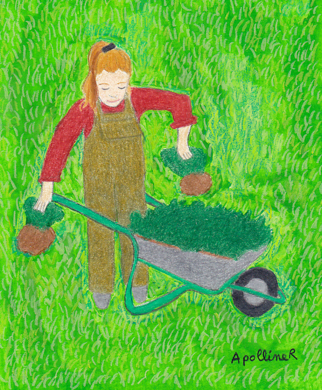 illustration of a young woman who removes som plants from her wheelbarrow