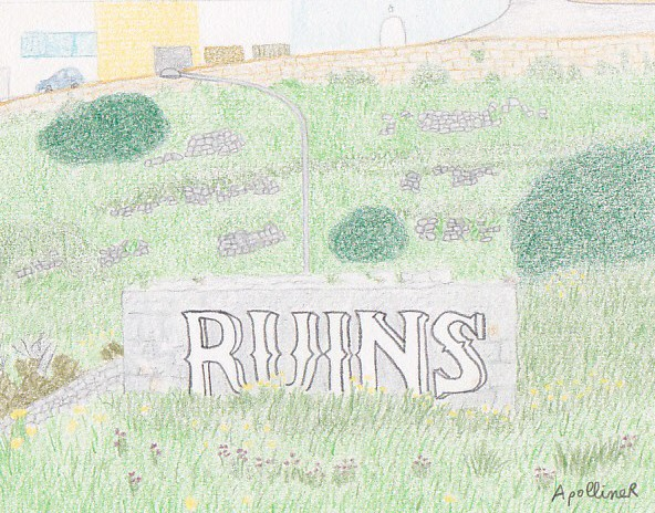 drawing of a graffiti in a field in Malta