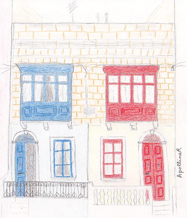 drawing of a Maltese traditional townhouses with enclosed balconies