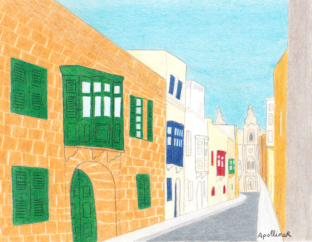 drawing of a Sliema street with Maltese traditional townhouses with enclosed balconies