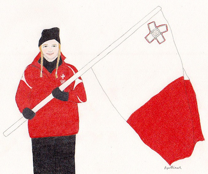 drawing of Elise Pellegrin carrying a Maltese flag at the Sochi Winter Olympic Games opening ceremony