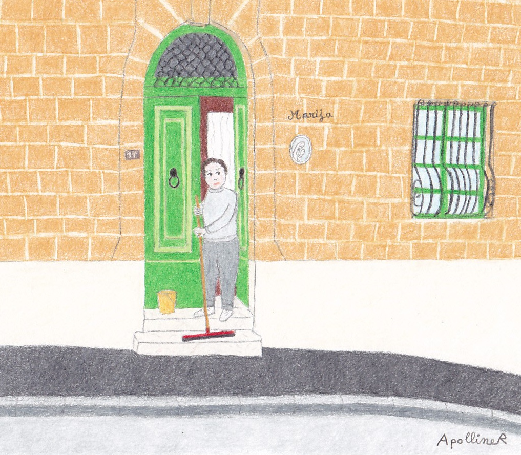 Illustration of a traditional Maltese townhouse entrance