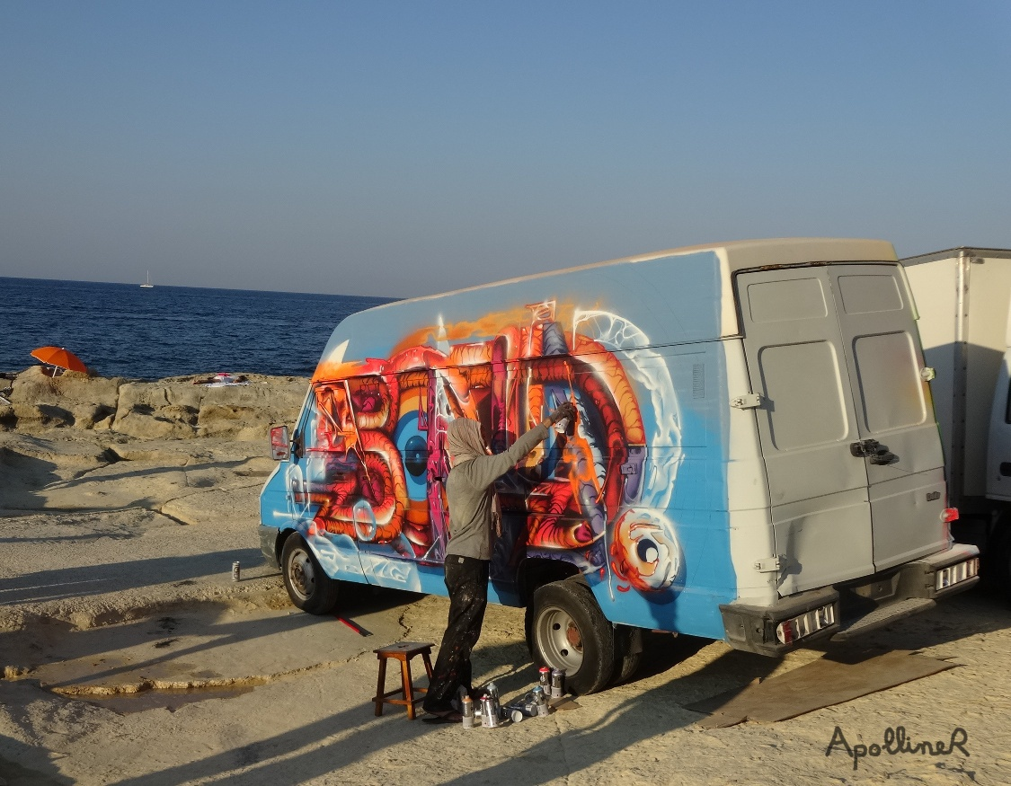 Sliema Street Art Festival in Malta: graffiti on a small truck