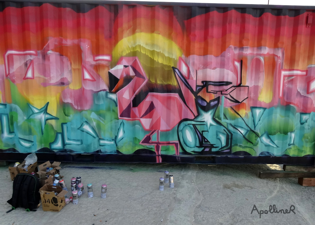 Sliema Street Art Festival in Malta: greater flamingo graffiti