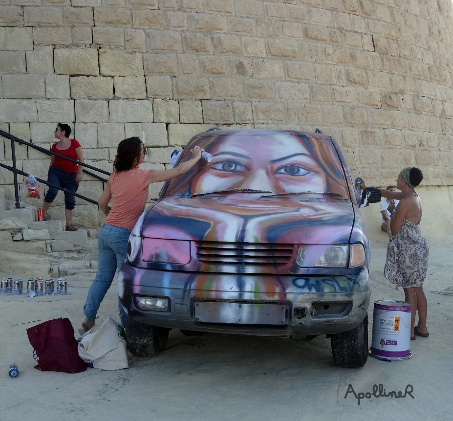 Sliema Street Art Festival in Malta: graffiti on a car