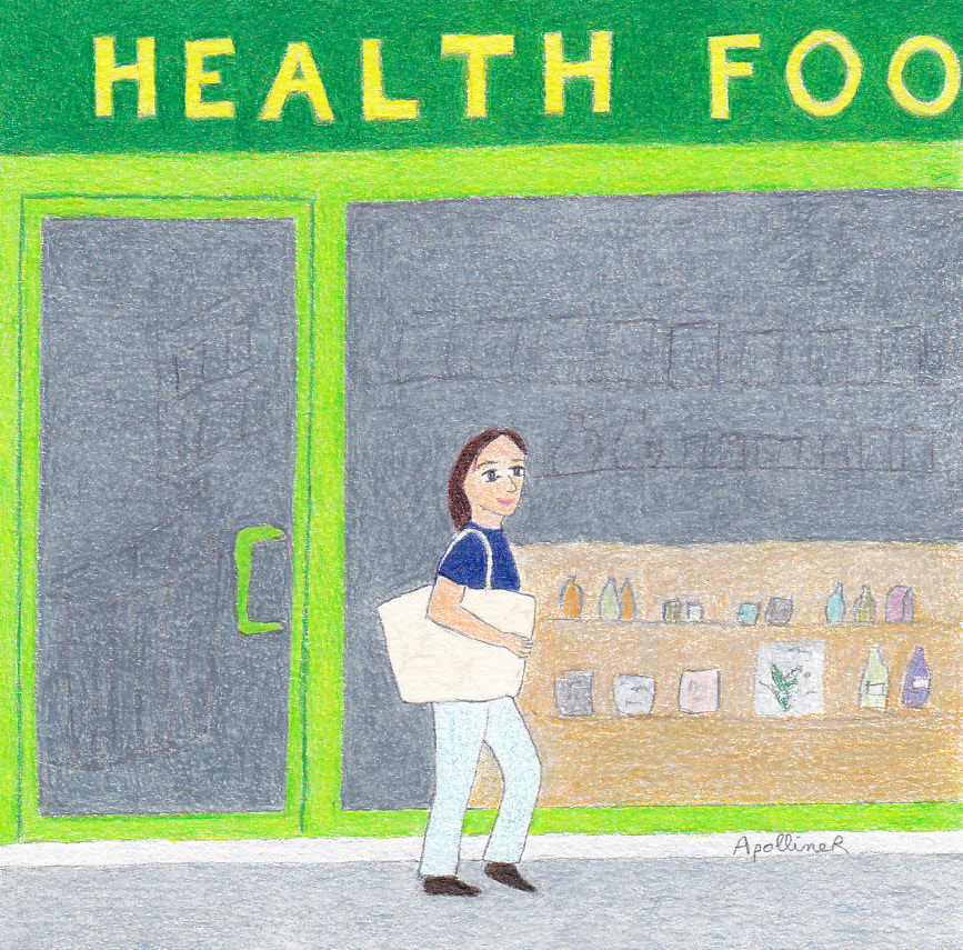 drawing of a woman doing the grocery shopping in front of a Maltese health food store