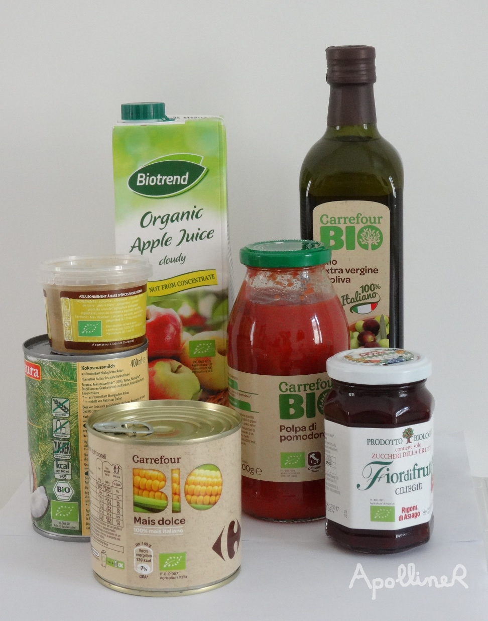 some groceries with the european organic logo