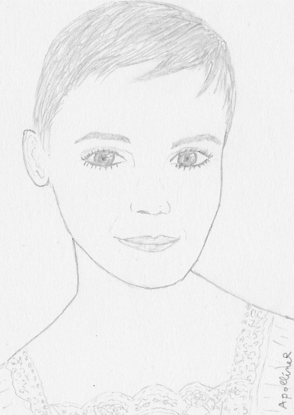 drawing of Emma Watson's boyish cut