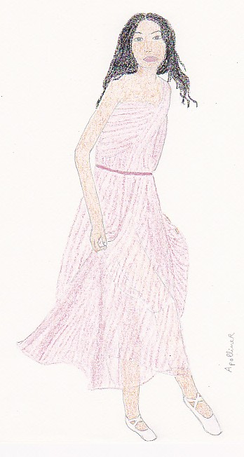drawing of Chanel Iman wearing a pink Chloé dress