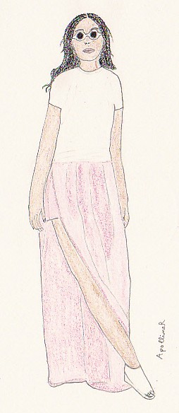 drawing of Chanel Iman wearing Jil Sander