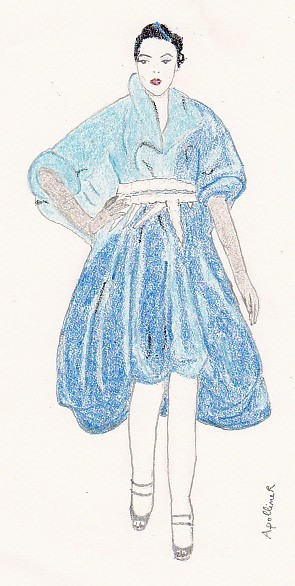 drawing of a blue full skirt Dior dress