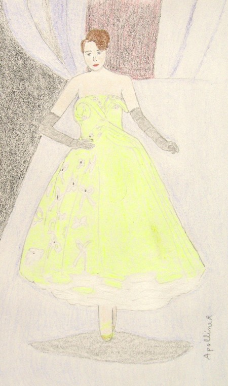 drawing of a yellow full skirt Dior dress