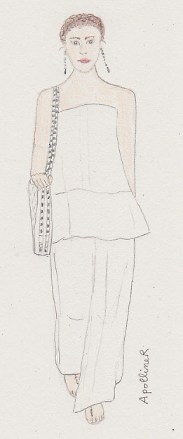 drawing of a white Valentino outfit