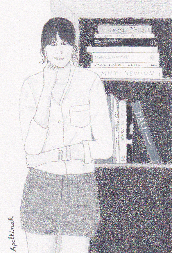 drawing of Alexa Chung wearing a white shirt and black shorts