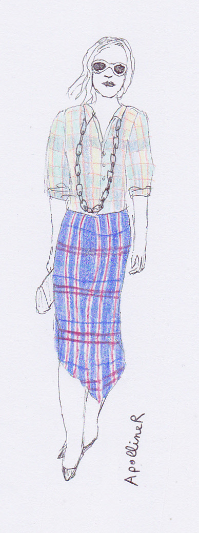 drawing of a model wearing a tartan shirt and a tartan skirt at Dries Van Noten Spring Summer 2013 Fashion Show