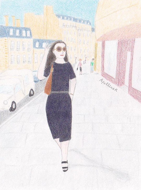 drawing of Jackie Kennedy Onassis wearing comfortable clothes in Paris