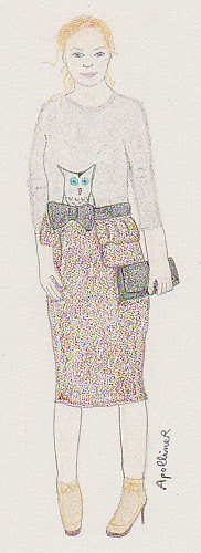 drawing of Kate Bosworth wearing a Burberry grey sweater with a drawn owl and a brown below-the-knee pencil skirt