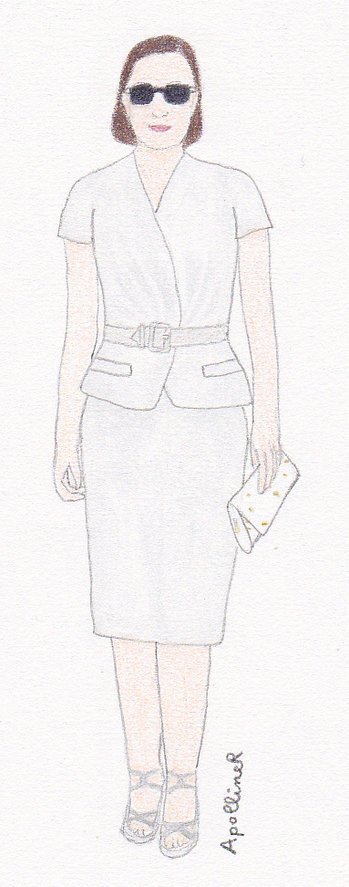 drawing of Marion Cotillard in a Dior light grey summer skirt suit