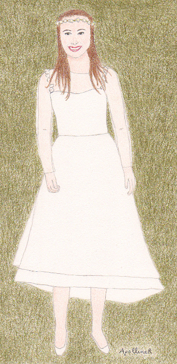 Drawing Of Natalie Portman In Rodarte Knee Lenght Wedding Dress