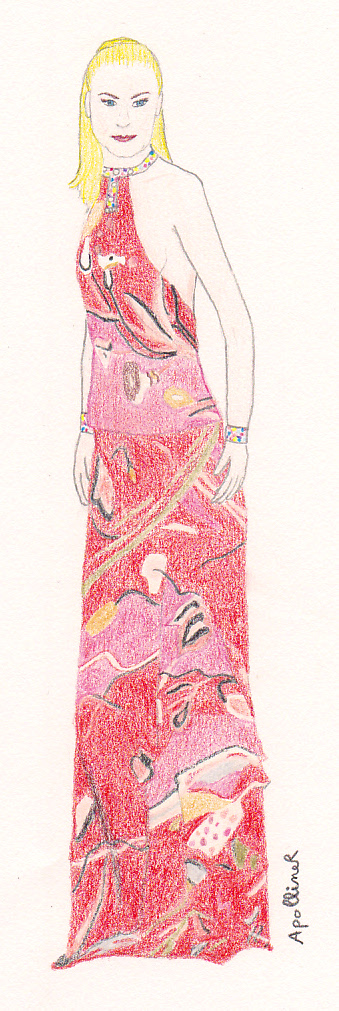 drawing of Nicole Kidman wearing a red Pucci dress at the 2003 Cannes Film Festival