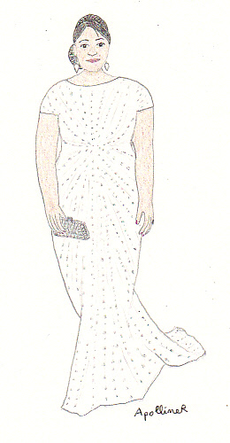 drawing of Octavia Spencer wearing a long white with silver glitter gown by Tadashi Shoji at the 2012 Oscars