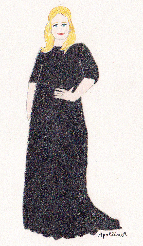 drawing of Adele a long black gown by Jenny Packham at the 2013 Oscars