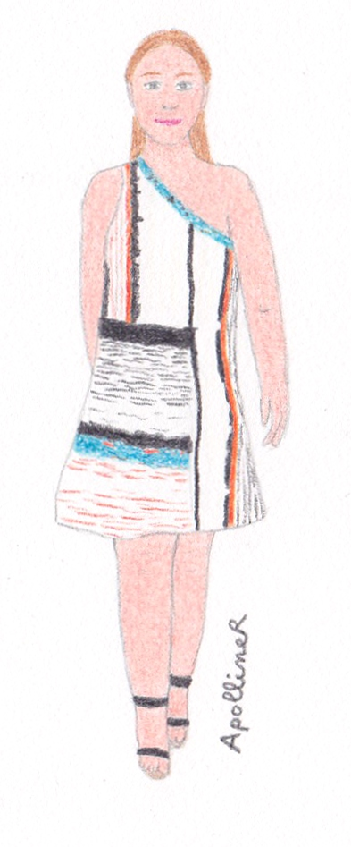 drawing of a colorful asymmetrical summer dress from designer Cédric Charlier 2013 Spring-Summer collection