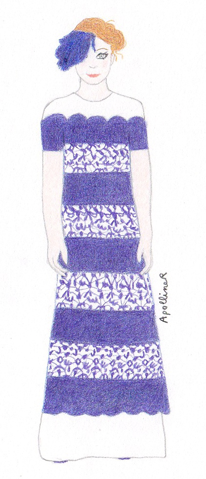 drawing of a navy blue and white long dress from Chanel Couture Spring-Summer 2013 collection