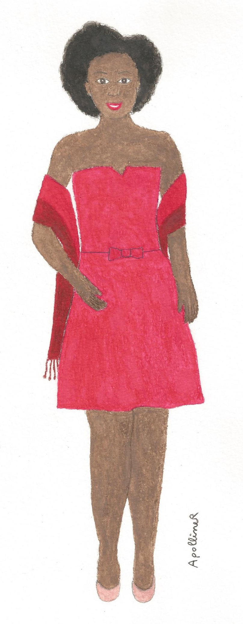 drawing of a woman wearing a	raspberry pink strapless dress with a ethical two-tone stole