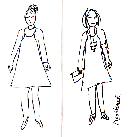 drawing: the same dress but with different accessories