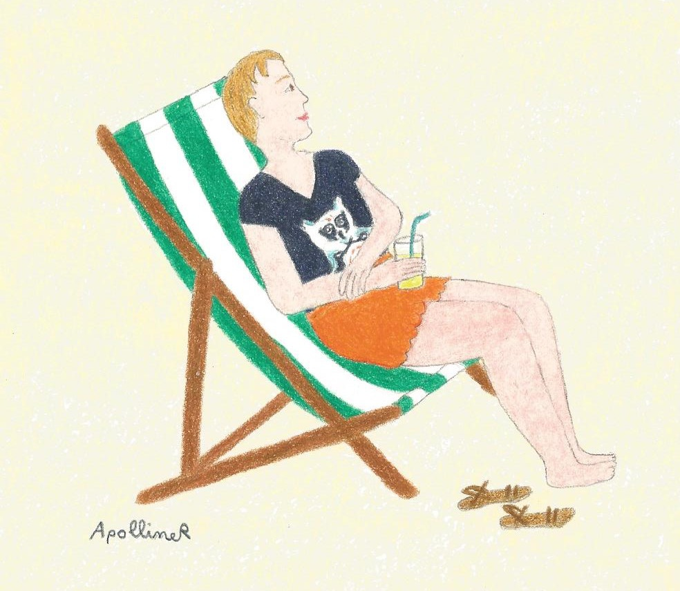 drawing of a woman relaxing on a deckchair