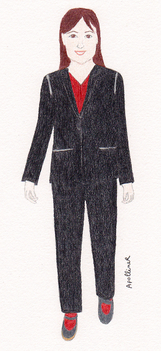 drawing of a woman wearing a black pantsuit and a red blouse by a sustainable brand