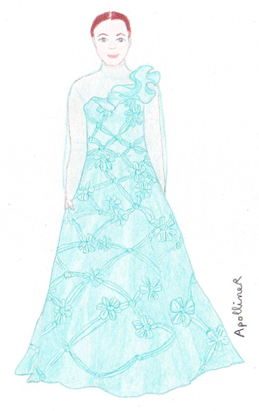 drawing of a sea-green princess gown with floral embroidery from Valentino Couture Spring-Summer 2013 collection
