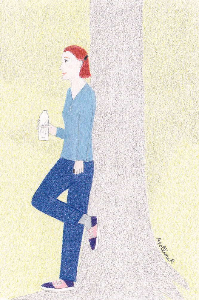drawing of a woman wearing jeans and sneakers leaning against a tree