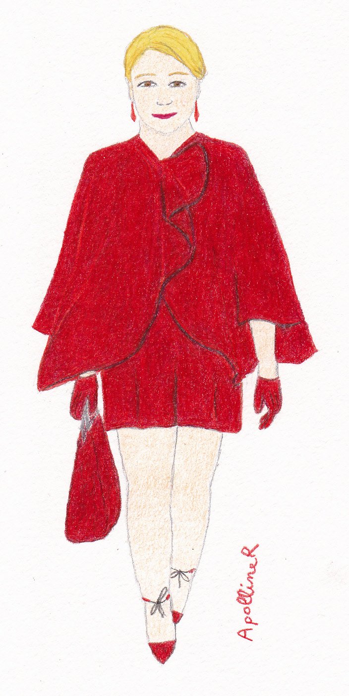 Drawing of a red cape coat from Armani Privé Couture 2014-2015 Fall-Winter collection